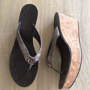 Tory Burch Faux Snakeskin Wedge Cork Sandals 8.5M